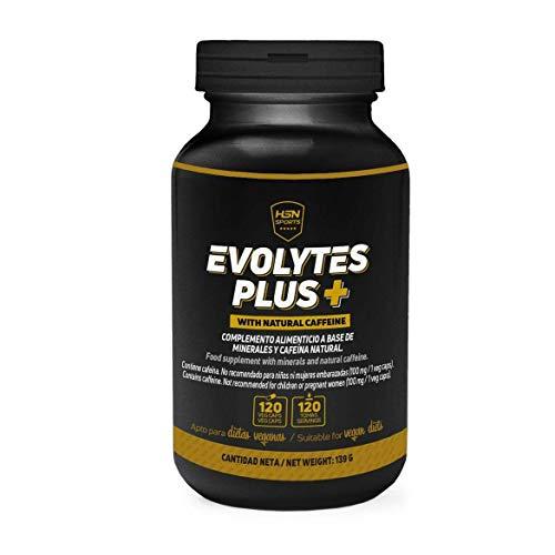 Sales Minerales Electrolitos en pastillas de HSN Evolytes Plus | Con Cafeína | Hidratación para Corredores, Ciclismo, Evitar Calambres | Vegano, Sin Gluten, Sin Lactosa, 120 Cápsulas Vegetales