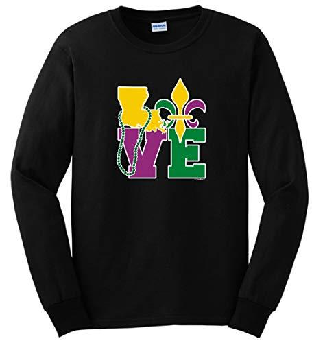 Mardi Gras Outfit Louisiana Love Mardi Gras Clothes Long Sleeve T-Shirt - Black - Medium