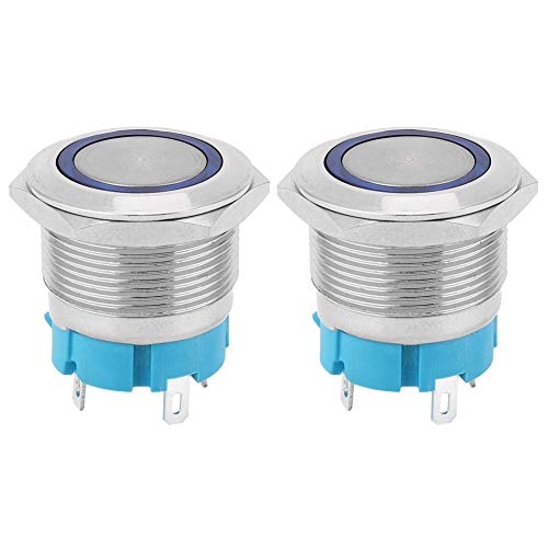 2 interruptores de presión con autobloqueo, 4 pines, 22 mm, orificio de montaje IP65, interruptor de metal, cambio automático (azul 220 VAC)