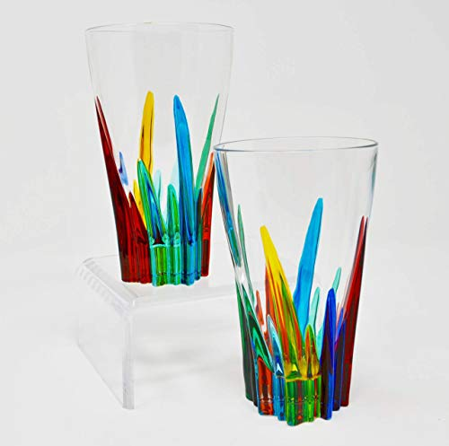 Crystal Murano Glasses, Hand Painted Lines, Set of 2 Made In Italy