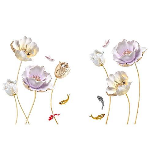 ZIUKENR - Adhesivo decorativo para pared, diseño de tulipán, decoración para sala de estar, habitación de guardería, dormitorio, oficina, baño, creativo, extraíble, bricolaje