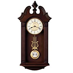 Bulova C4437 Ridgedale Clock, Walnut Finish