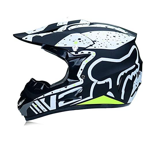 LSLVKEN Casco de Motocicleta, Conjunto de Casco de Motocross Todo Terreno MTB MX de Integrales para Niños y Adultos (Gafas + Máscara + Guantes) con Diseño Fox - Certificación Dot & ECE,Negro,L