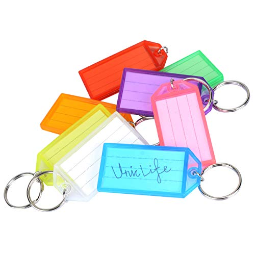 Uniclife 8 Colors Tough Plastic Key Tags with Split Ring Label Window, 20 Pack