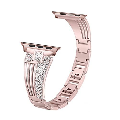 HGVVNM Bandas de banda de acero sin cinta 42mm 38mm 40mm 44mm Mujeres Crystal Diamond Pulsera Strap Muñeca (Color : Rose pink, Size : 42mm or 44mm)
