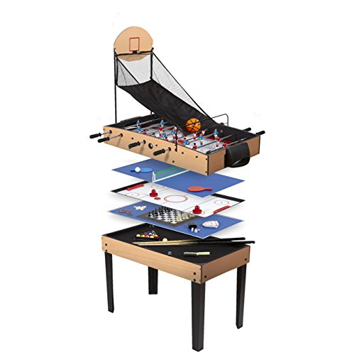 René Pierre - Table Multijeux 9 en 1 (Baby-foot - Hockey - Basket - Billard - Dames - Ping Pong...