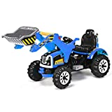Costzon 12V Battery Powered Kids Ride On Excavator, Electric Truck with High/Low Speed, Moving Forward/Backward, Front Loader Digger (Blue)