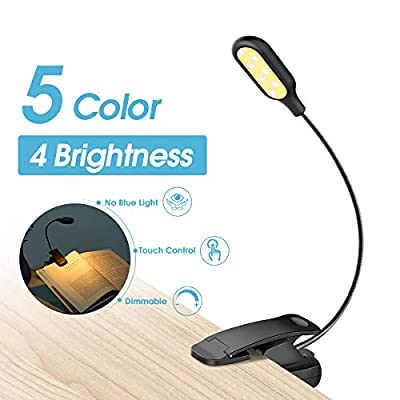 LOHAS Rechargeable 14 LED Book Light, Reading Light for Reading in Bed, 3000-6000K Dimmable 20 Lighting Modes, CRI 95 Blue Light Blocking Eye Protection, LED Clip on Book Light for Bookworms, Kids