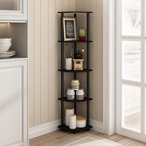 Furinno Turn-N-Tube 5 Tier Corner Shelf, Espresso/Black