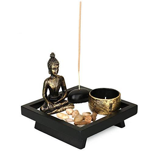 Juego de candelabros Zen con adorno de Buda sentado – Piedra natural de ratán incienso