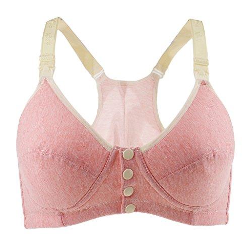 Hellery Damen Still-BH Schwangerschaft Still BHS ohne Bügel mit Knöpfe Deko - Wassermelonenrot, 85C