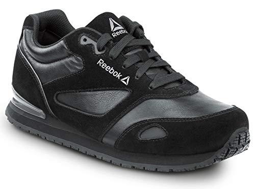 Reebok Work Prelaris, Black/Grey, Women's, Jogger Style Slip Resistant Soft Toe Work Shoe (8.5 M)