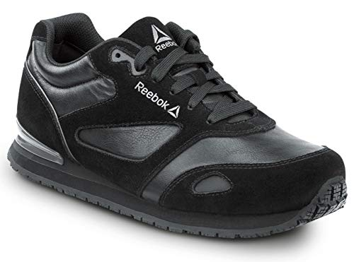 Reebok Prelaris, Black/Grey, Women's, Jogger Style Slip Resistant Soft Toe Work Shoe (7.5 M)