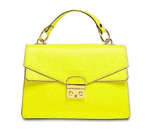 Casa Heritage FANA - Bolso de piel para mujer, fabricado en Italia, Amarillo (verde limón), 29x10x20