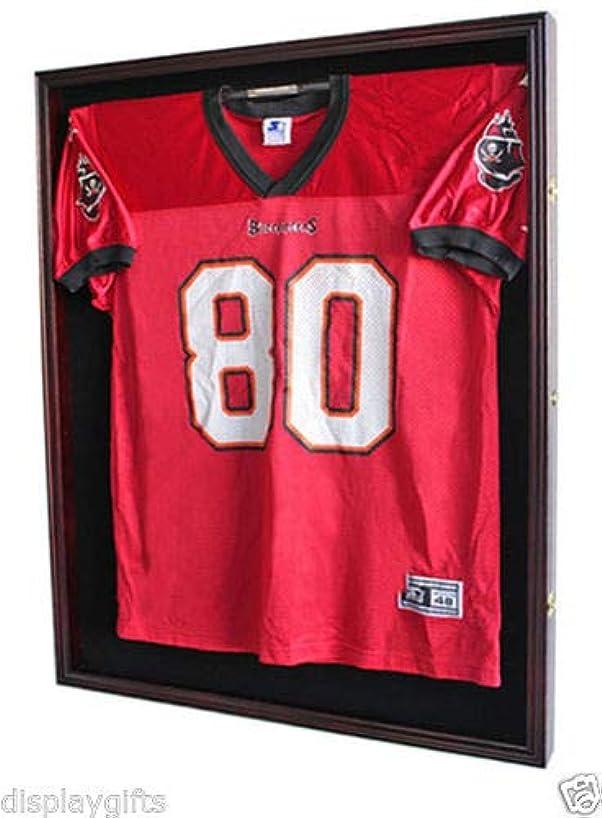 XX Large Football/Hockey Uniform Jersey Display Case Frame, UV Protection Ultra Clear, Locks (Mahogany)
