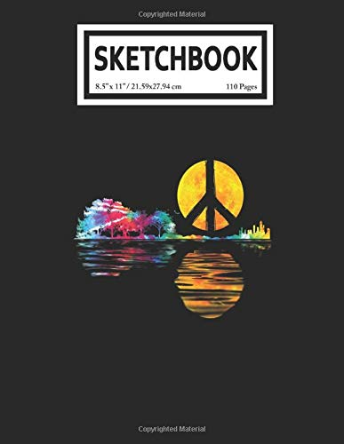 Sketchbook: Hippie Guitar Moon Musician Peace Sign Guitarist Player 110 Blank Pages with Size 8.5x11 for Drawing, Writing, Painting, Sketching or Doodling