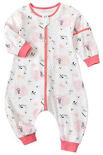 Chilsuessy Sommerschlafsack Baby Schlafsack mit Füßen 1 Tog Kleine Kinder Schlafanzug mit abnehmbar Ärmel für Sommer und Frühling 100% Baumwolle, Rosa Elefant, XXL/Baby Höhe 105-115cm