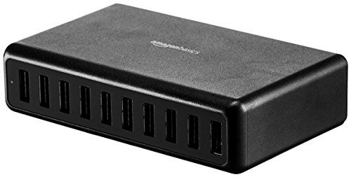 AmazonBasics 40W 4-Port Multi USB Wall Charger, White