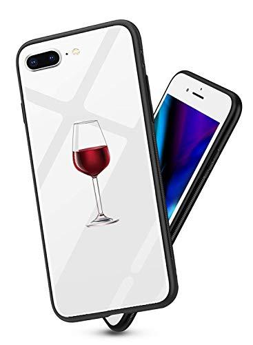 Suhctup Vidrio Templado Case Compatible con iPhone 6+ Plus/6S+ Plus Funda Transparente Lindo Dibujos Cristal Templado Trasera Carcasa con Suave Silicona TPU Bumper Anti-Amarilla Cover,Copa Vino