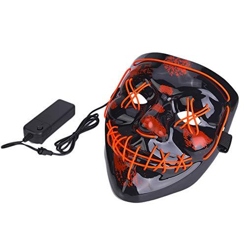 Tbest Máscara de Halloween, Máscara de Miedo Cosplay de Halloween Máscara de Traje led 3 Modos de luz Máscaras Brillantes (Rojo)
