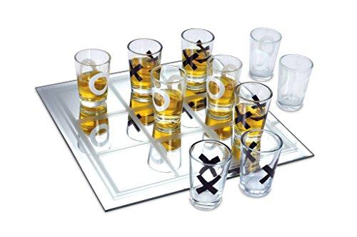 KOVOT Shot Glass Tic Tac Toe Game – 10 FULL-SIZED Shot Glasses Included