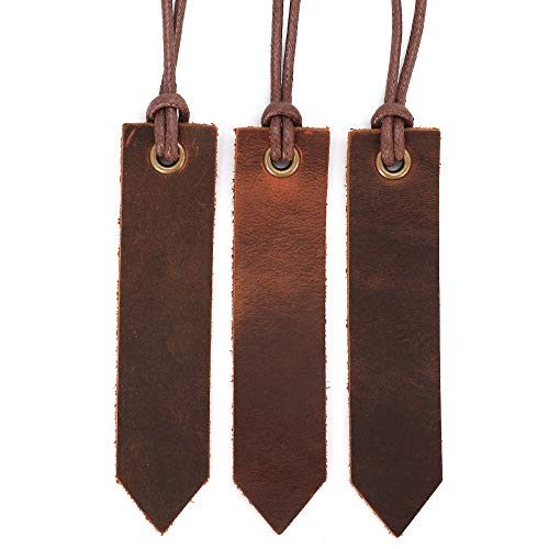 Jagucho Leather Bookmarks for Men Women Teen Boys Girls, Handmade Reading Page Markers for Book, Perfect Gift for Reader Writers, Set of 3 PCS (Umber 04)