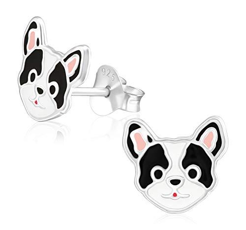 Laimons Pendientes para niña con diseño de perro bulldog carlino blanco y negro, 9 mm, plata de ley 925