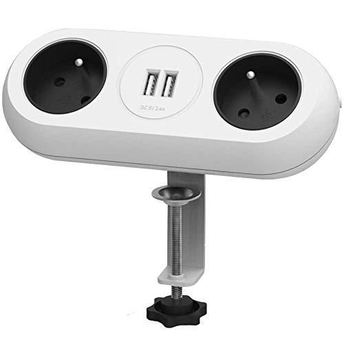 Orno AE-13133/W Steckdosenleiste 2-fach USB, 2 Steckdosen Typ E, Halterung und Kabel von 1,4 m. (weiß)