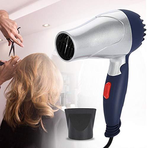 Secador de Pelo Doméstico Plegable, 1500W Profesional Secador de cabello frío y caliente de iones negativos, alta potencia, 2 tipos de ajuste de temperatura, secado rápido(Plata)