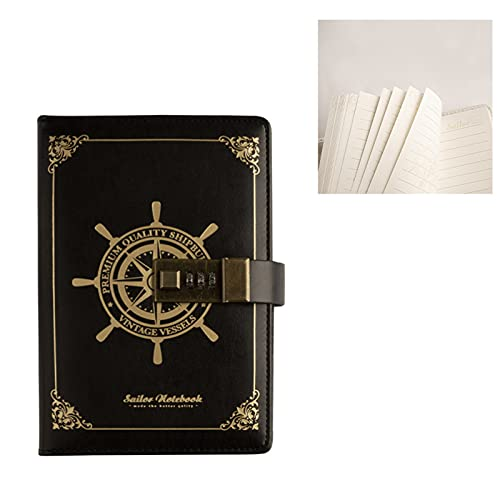 PUYEI Cuaderno con contraseña retro marinero cuaderno diario diario diario diario diario cuaderno cuaderno cuaderno 3 dígitos contraseña cerradura de combinación creativo papelería