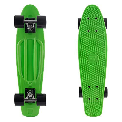 "Retrospec Quip Skateboard 22.5"" Classic Plastic Mini Cruiser Complete Skateboard w/ ABEC 7 Bearings, Green/Black (3377)"