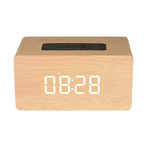 HCFSUK Caja de Relojes Bluetooth, Altavoz inalámbrico Bluetooth de Madera Caja de Sonido de música estéreo con Pantalla LED Reloj Despertador Relojes de Mesa Soporte de diseño Moderno Tarjeta AUX T