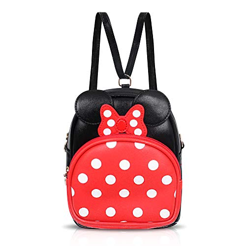 Finex Minnie Mouse Backpack Small 2-in-1 Crossbody bag Mini Backpack - Multifunction Makeup Travel Mini Handbag with Long Shoulder Adjustable Strap PU Leather for Women Girls (Red/Black)