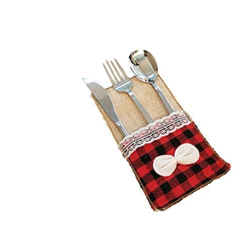LIOOBO sac vaisselle couverts 1pc Noël argenterie support de couverture fourche cas cuillère pour la décoration de table de fête à domicile