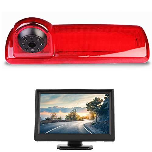 HD 720p 3. Bremslicht Rückfahrkamera-Set, 10,9 cm (4,3 Zoll) LCD-Monitor mit IP68 wasserdicht, Nachtsicht Rückfahrkamera für Renault Trafic X82 MK3 Opel Vivaro Nissan Primastar Talento 14–19