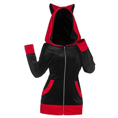 Sudaderas con capucha para las mujeres abrigos de invierno sueltos de gran tamaño sudaderas con orejas de gato suéter de las señoras de la felpa chaqueta de