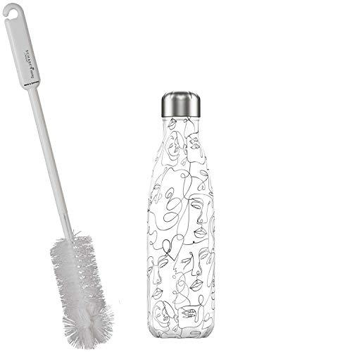 CHILLYs Trinkflasche & Isolierflasche Line Art Faces Bottle - Edelstahl Thermos Wasserflasche - Flasche hält 24 Std. kalt & 12 Std. heiß + SCHARFsinnig Flaschenbürste