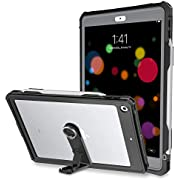 iPad 7th Generation case, iPad 10.2 Case 2019 Waterproof Case Slim Back Full Body Protection Clear Cover with Kickstand, Built in Screen Protector Anti-Scratch Shockproof Case for iPad 10.2 (Black)