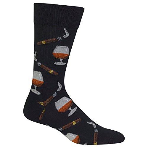 Hot Sox Men's Conversational Slack Crew Socks, Cognac And Cigars (Black), Shoe Size: 6-12