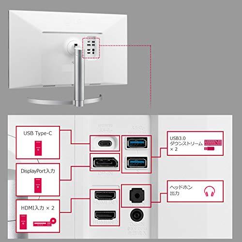 LGモニターディスプレイ27UL850-W27インチ/4K/DisplayHDR400/IPS非光沢/USBType-C、DP、HDMI×2/スピーカー/FreeSync/高さ調節、ピボット