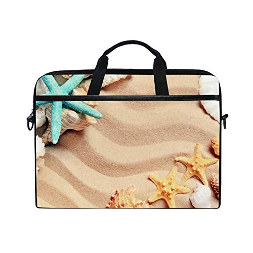 HaJie Laptop Bag Sea Beach Animal Starfish Seashell Computer Case 14-14.5 in Protective Bag Travel Briefcase with Shoulder Strap for Men Women Boy Girls