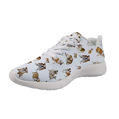 Coloranimal Running Jogging Casual DailyShoes Gym Sports Well-Ventilated Non Slip Go Easy Walking Sneakers for Girls Boys Funny French Bulldog Printed Shoes