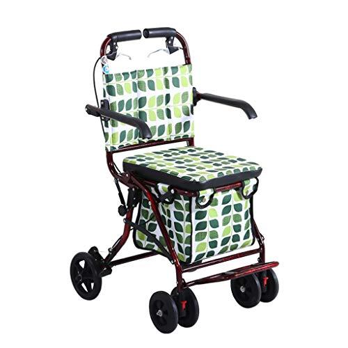 Einkaufstrolleys Walker Folding Einkaufswagen Gehende Hilfsauto-Krücken Einkaufswagen kann sitzen tragen Gewicht tragen 100kg Liegestuhl Senden ältere Roller Einkaufskörbe