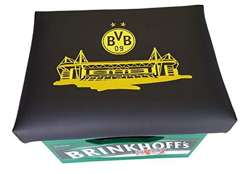 Die Idee - BVB Bierkastensitz Fanartikel Borussia Dortmund Bierkasten Sitz Sitzkissen nur der bvb Bierkasten Aufsatz Stehtisch (Stadion)