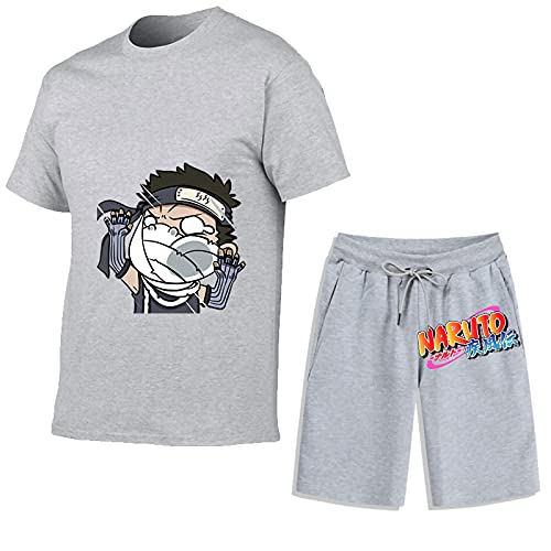 HXSNB Juego de chándales para Hombres - Momochi Zabuza Casual 2 Piezas Camiseta de Manga Corta Top Pantalones Cortos Pantalones Cortos Botter Sportswear Trajes Deportivos Trajes,B-L