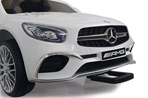 RC Auto kaufen Kinderauto Bild 4: Jamara 460296 Ride-on Mercedes SL65 weiß 12V – Softanlauf, 2-Gang, Stoßdämpfer, SD-Slot, AUX-und USB-Anschluss, LED, Hupe, bis zu 90 Min. Fahrzeit, Ultra-Gripp Gummiring*