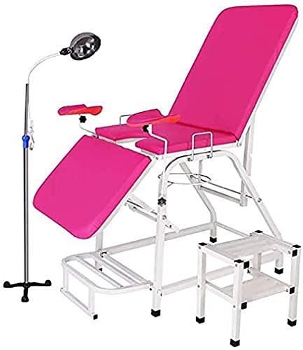 PGKCCNT Cama de Lavado ginecológica, Cama de Examen, lecho de Color Pliegue portátil con Soporte de luz Reflectante de Tela de Manos para el salón de Belleza del Hospital, clínica, Rosa