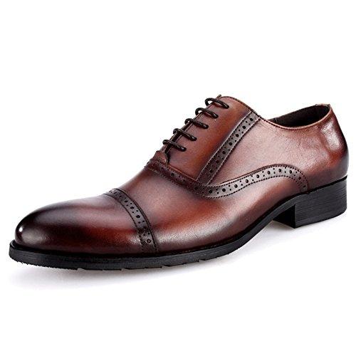 MERRYHE Herren Oxford Spitz Toe Brogues Echtleder Derby Classic Business Anzug Schuhe Formale Schuh Lace-Ups Sandale Für Abend Party Hochzeit Arbeit Geschenke,Brown-44