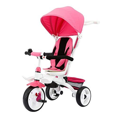 GCXLFJ Triciclo Bebe Infantil 4 En 1 Plegable Azul Triciclo,1-6 Años De Edad Niño Sombrilla Triciclo,Ajustable con Asa Rosa Triciclo (Color : Pink)