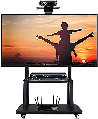 WXHHH Soporte de TV móvil para TV de 50 Pulgadas / 55 Pulgadas / 60 Pulgadas / 65 Pulgadas / 70 Pulgadas Carro de TV rodante de Servicio Pesado con 2 Almacenamiento para Oficina (Color: Negro)